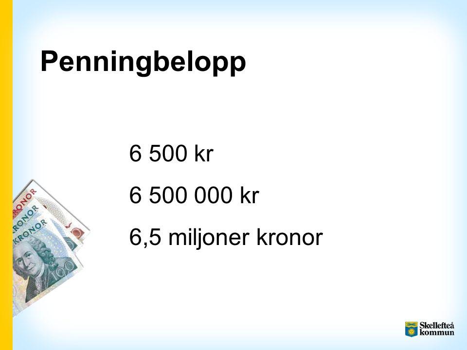 Penningbelopp 6 500 kr 6 500 000 kr 6,5 miljoner kronor