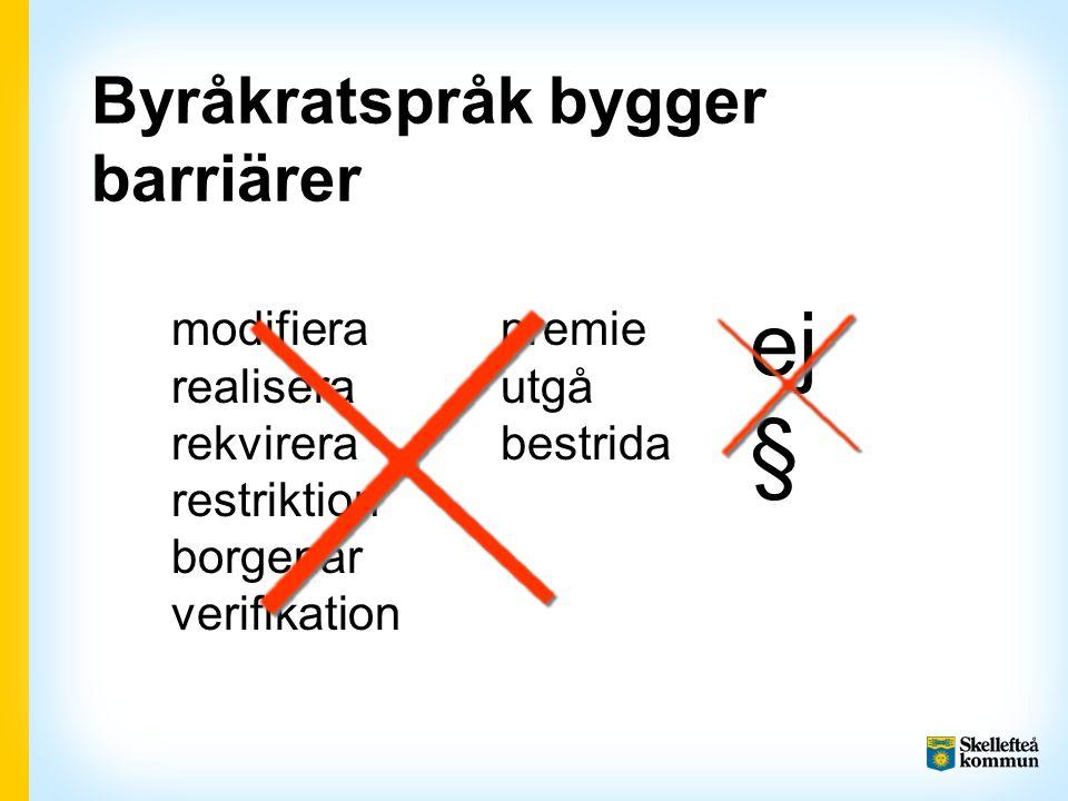 Byråkratspråk bygger barriärer modifiera realisera rekvirera restriktion borgenär verifikation premie utgå bestrida ej §