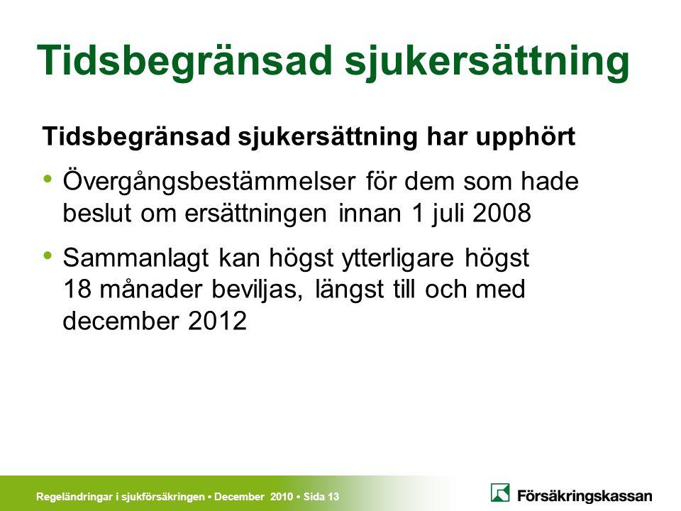 Regeländringar i sjukförsäkringen December 2010 Sida 13 Tidsbegränsad sjukersättning Tidsbegränsad sjukersättning har upphört Övergångsbestämmelser för dem som hade beslut om ersättningen innan 1 juli 2008 Sammanlagt kan högst ytterligare högst 18 månader beviljas, längst till och med december 2012