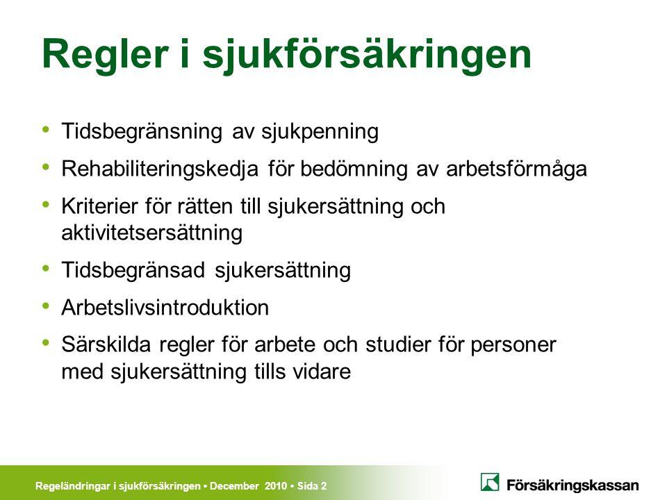 Regeländringar i sjukförsäkringen December 2010 Sida 2 Regler i sjukförsäkringen Tidsbegränsning av sjukpenning Rehabiliteringskedja för bedömning av arbetsförmåga Kriterier för rätten till sjukersättning och aktivitetsersättning Tidsbegränsad sjukersättning Arbetslivsintroduktion Särskilda regler för arbete och studier för personer med sjukersättning tills vidare