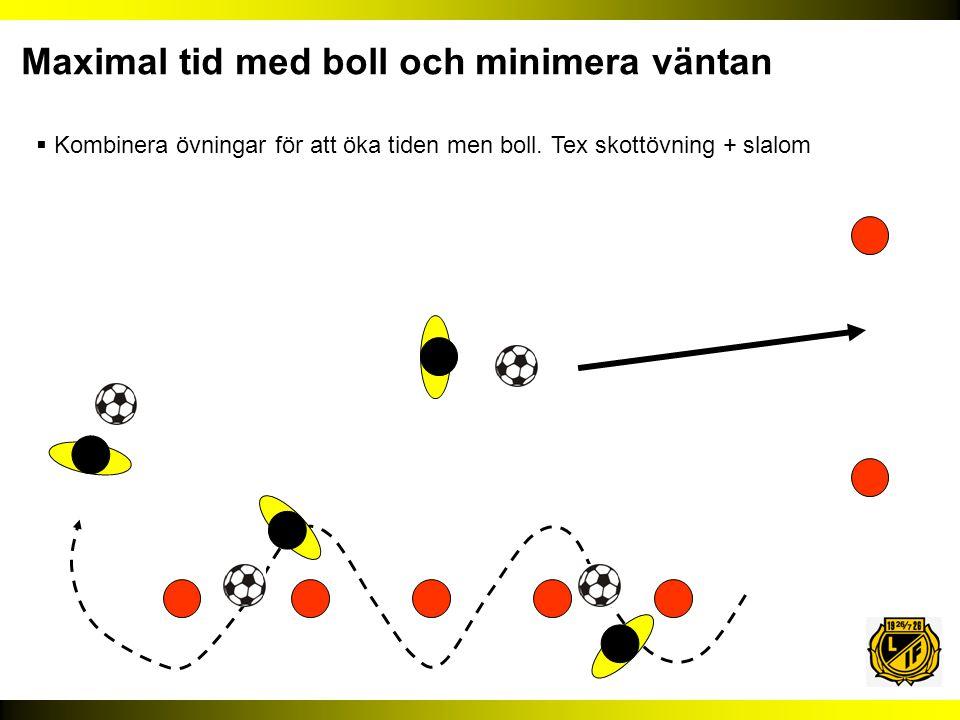  Kombinera övningar för att öka tiden men boll. Tex skottövning + slalom Maximal tid med boll och minimera väntan