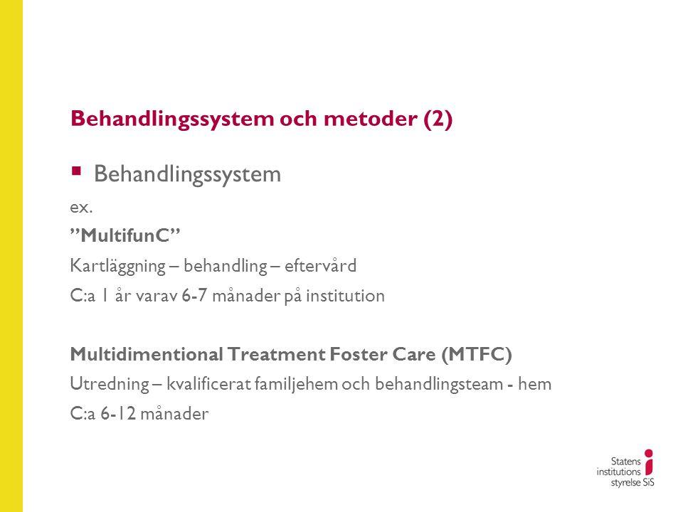 """Behandlingssystem och metoder (2)  Behandlingssystem ex. """"MultifunC"""" Kartläggning – behandling – eftervård C:a 1 år varav 6-7 månader på institution"""