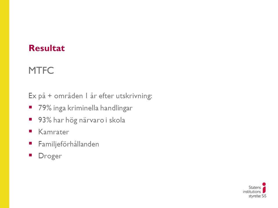 Resultat MTFC Ex på + områden 1 år efter utskrivning:  79% inga kriminella handlingar  93% har hög närvaro i skola  Kamrater  Familjeförhållanden