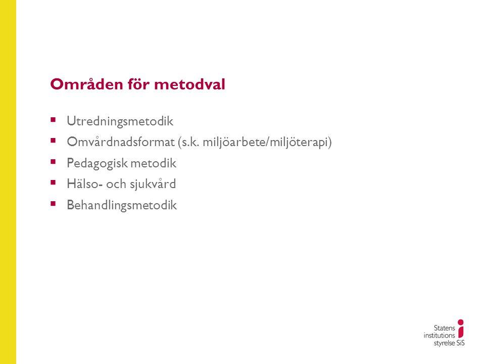 Områden för metodval  Utredningsmetodik  Omvårdnadsformat (s.k. miljöarbete/miljöterapi)  Pedagogisk metodik  Hälso- och sjukvård  Behandlingsmet