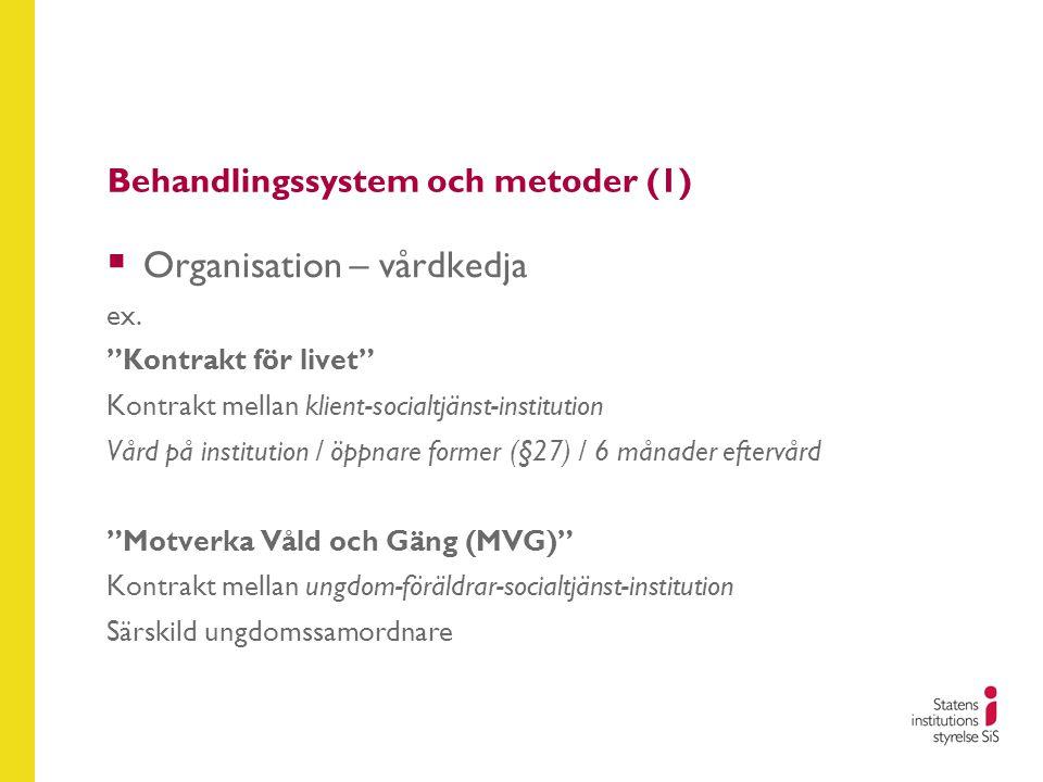 """Behandlingssystem och metoder (1)  Organisation – vårdkedja ex. """"Kontrakt för livet"""" Kontrakt mellan klient-socialtjänst-institution Vård på institut"""