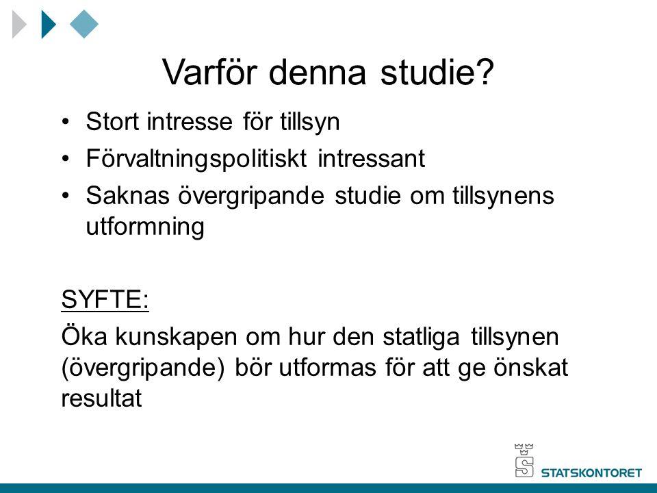 Varför denna studie? Stort intresse för tillsyn Förvaltningspolitiskt intressant Saknas övergripande studie om tillsynens utformning SYFTE: Öka kunska