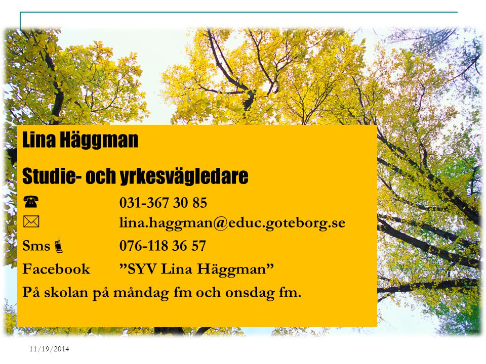 11/19/2014 Lina Häggman Studie- och yrkesvägledare  031-367 30 85  lina.haggman@educ.goteborg.se Sms  076-118 36 57 Facebook SYV Lina Häggman På skolan på måndag fm och onsdag fm.