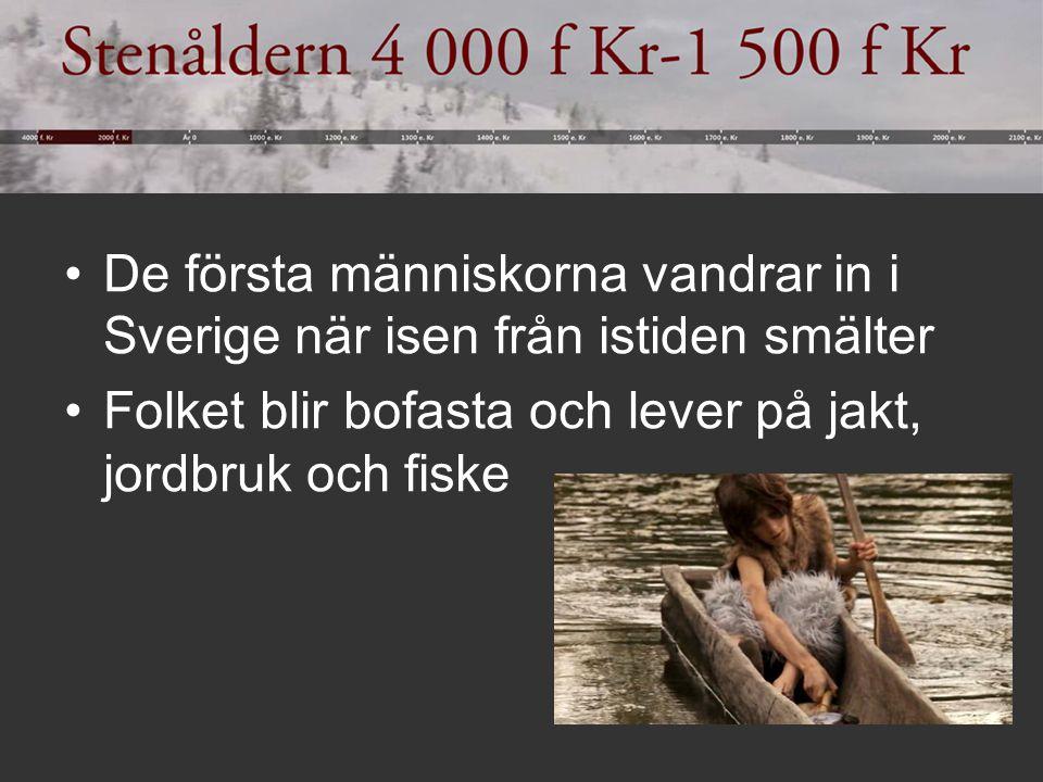 De första människorna vandrar in i Sverige när isen från istiden smälter Folket blir bofasta och lever på jakt, jordbruk och fiske