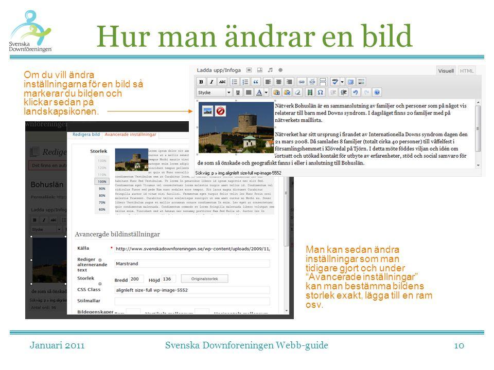 Januari 2011Svenska Downforeningen Webb-guide10 Hur man ändrar en bild Om du vill ändra inställningarna för en bild så markerar du bilden och klickar