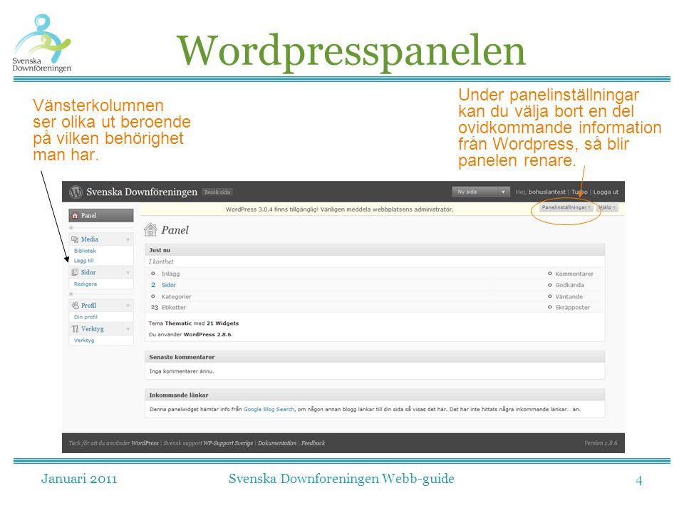 Januari 2011Svenska Downforeningen Webb-guide4 Wordpresspanelen Vänsterkolumnen ser olika ut beroende på vilken behörighet man har. Under panelinställ