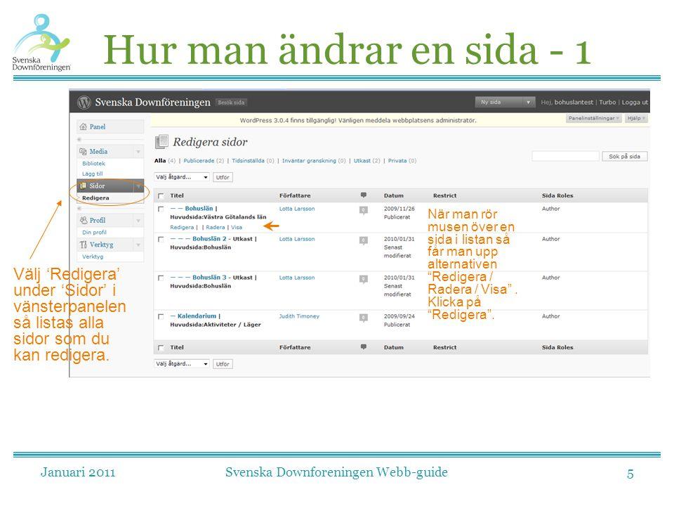 Januari 2011Svenska Downforeningen Webb-guide5 Hur man ändrar en sida - 1 Välj 'Redigera' under 'Sidor' i vänsterpanelen så listas alla sidor som du k