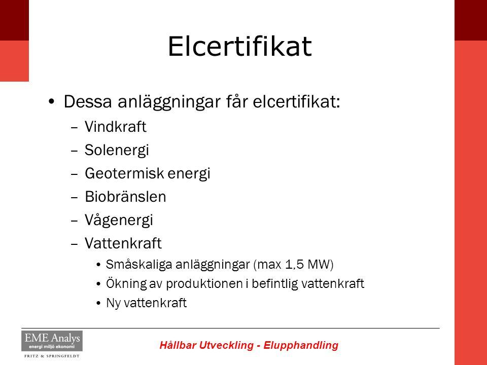 Hållbar Utveckling - Elupphandling Elcertifikat Dessa anläggningar får elcertifikat: –Vindkraft –Solenergi –Geotermisk energi –Biobränslen –Vågenergi