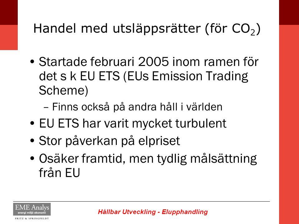 Hållbar Utveckling - Elupphandling Handel med utsläppsrätter (för CO 2 ) Startade februari 2005 inom ramen för det s k EU ETS (EUs Emission Trading Sc