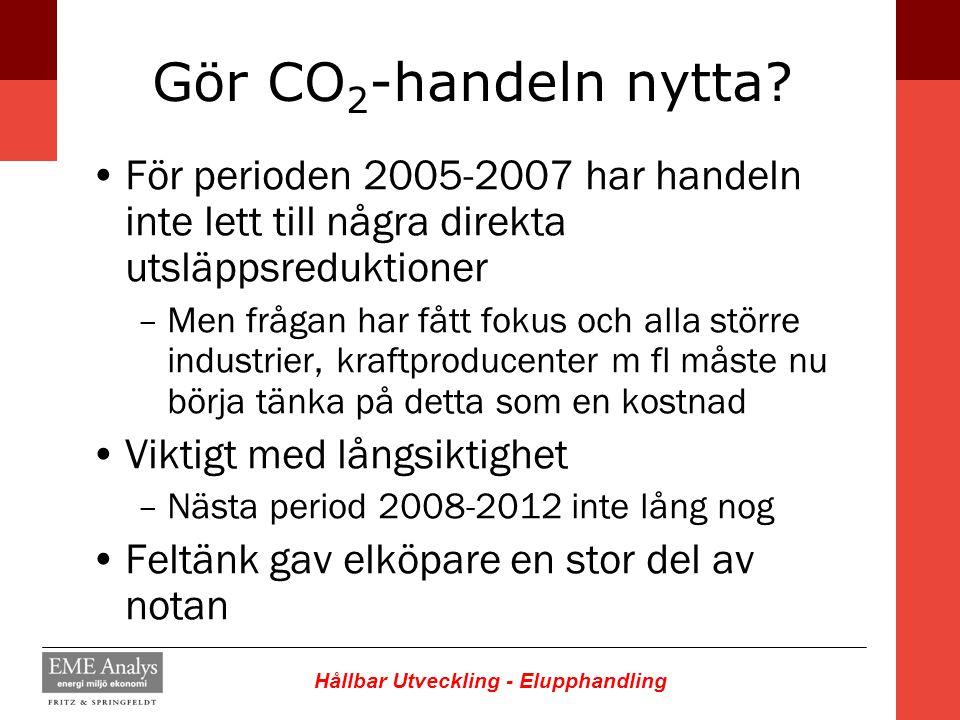 Hållbar Utveckling - Elupphandling Gör CO 2 -handeln nytta? För perioden 2005-2007 har handeln inte lett till några direkta utsläppsreduktioner –Men f
