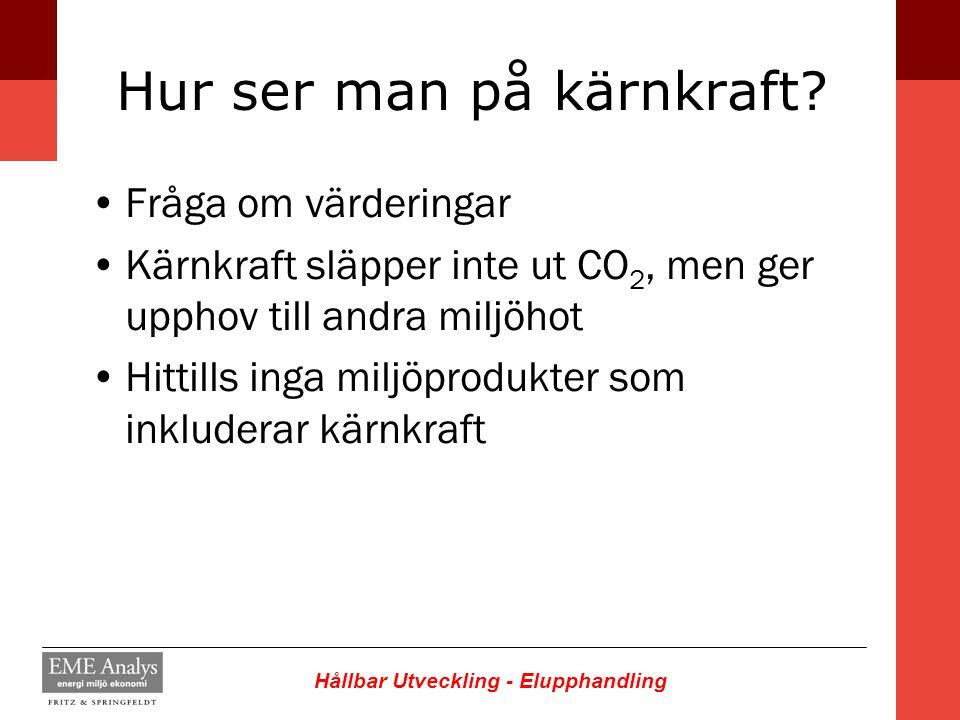Hållbar Utveckling - Elupphandling Hur ser man på kärnkraft? Fråga om värderingar Kärnkraft släpper inte ut CO 2, men ger upphov till andra miljöhot H