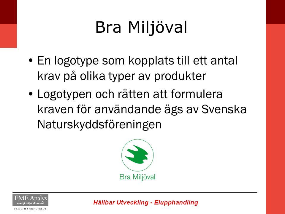 Hållbar Utveckling - Elupphandling Bra Miljöval En logotype som kopplats till ett antal krav på olika typer av produkter Logotypen och rätten att form