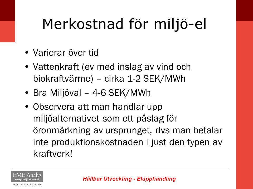 Hållbar Utveckling - Elupphandling Merkostnad för miljö-el Varierar över tid Vattenkraft (ev med inslag av vind och biokraftvärme) – cirka 1-2 SEK/MWh