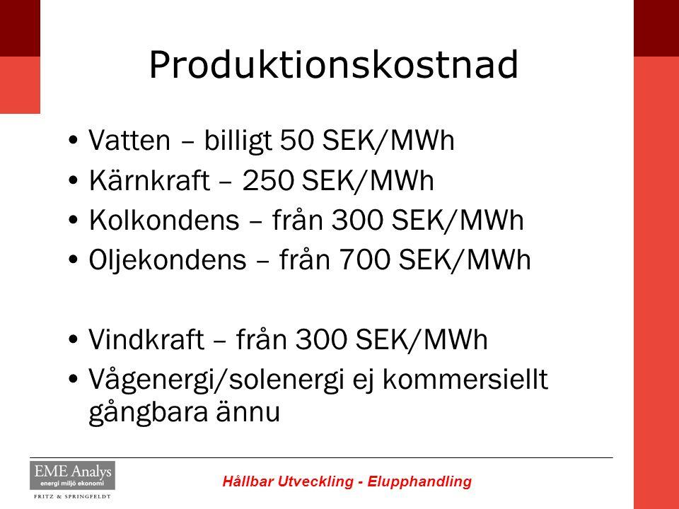 Hållbar Utveckling - Elupphandling Produktionskostnad Vatten – billigt 50 SEK/MWh Kärnkraft – 250 SEK/MWh Kolkondens – från 300 SEK/MWh Oljekondens –