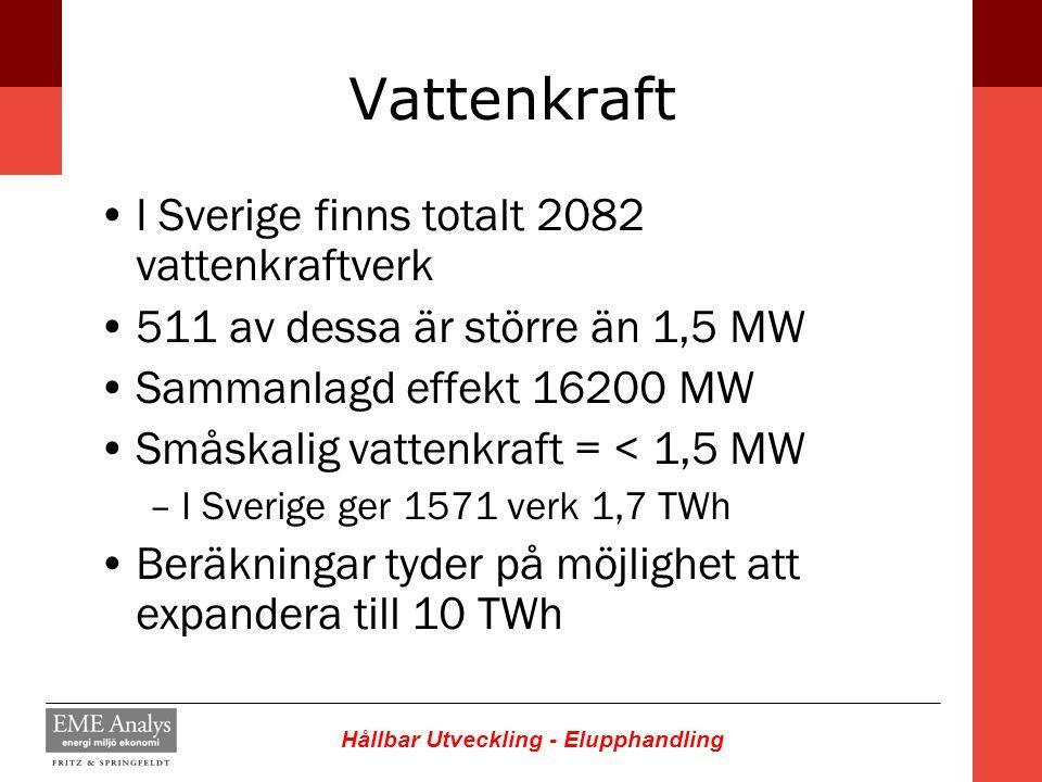 Hållbar Utveckling - Elupphandling Vattenkraft I Sverige finns totalt 2082 vattenkraftverk 511 av dessa är större än 1,5 MW Sammanlagd effekt 16200 MW