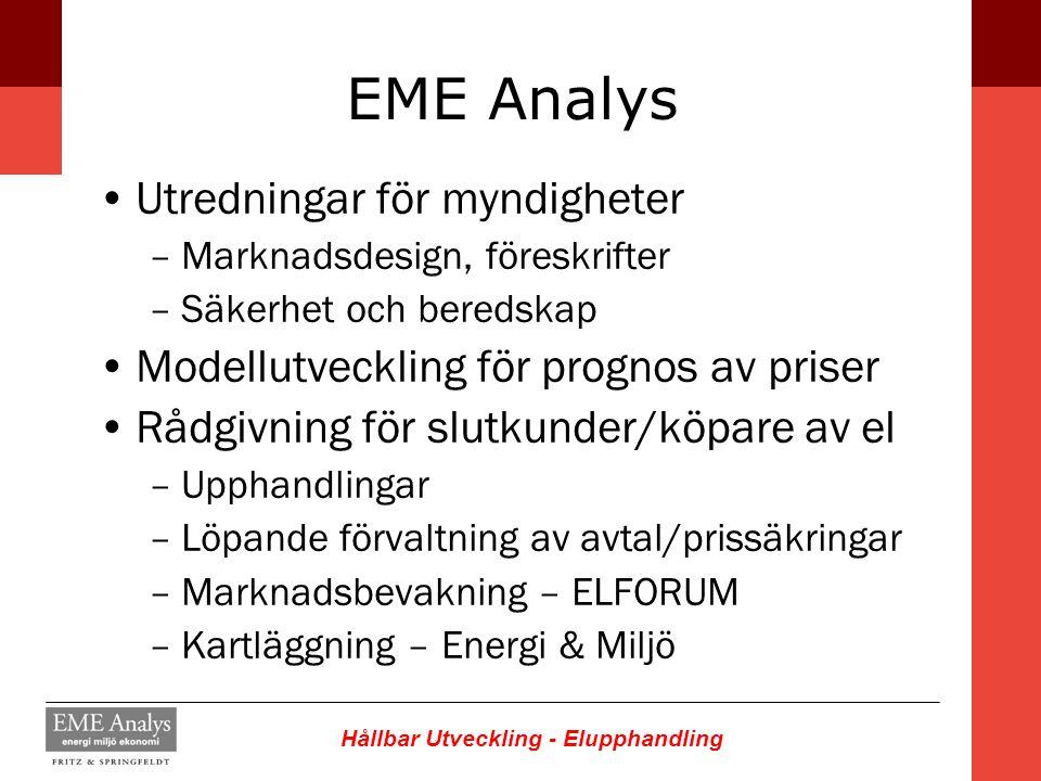 Hållbar Utveckling - Elupphandling EME Analys Utredningar för myndigheter –Marknadsdesign, föreskrifter –Säkerhet och beredskap Modellutveckling för p