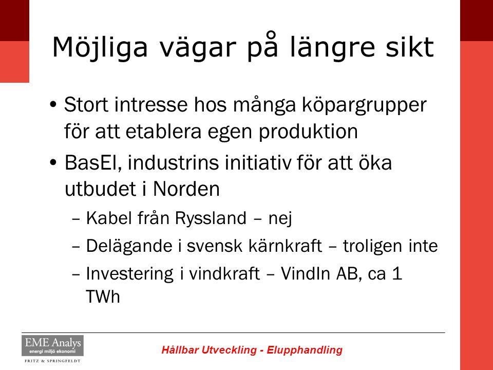 Hållbar Utveckling - Elupphandling Möjliga vägar på längre sikt Stort intresse hos många köpargrupper för att etablera egen produktion BasEl, industri