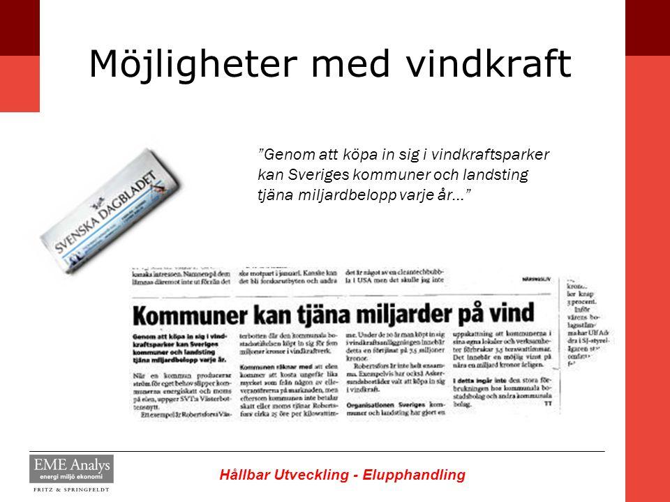 """Hållbar Utveckling - Elupphandling Möjligheter med vindkraft """"Genom att köpa in sig i vindkraftsparker kan Sveriges kommuner och landsting tjäna milja"""