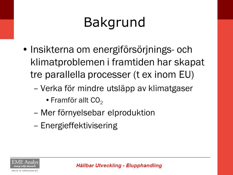 Hållbar Utveckling - Elupphandling Bakgrund Insikterna om energiförsörjnings- och klimatproblemen i framtiden har skapat tre parallella processer (t e