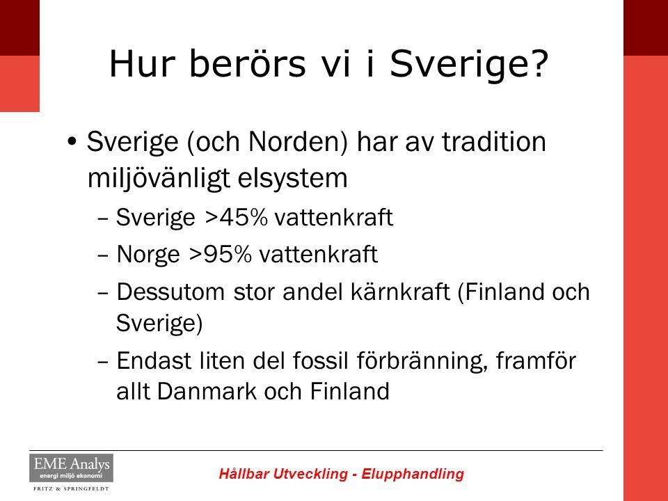 Hållbar Utveckling - Elupphandling Hur berörs vi i Sverige? Sverige (och Norden) har av tradition miljövänligt elsystem –Sverige >45% vattenkraft –Nor