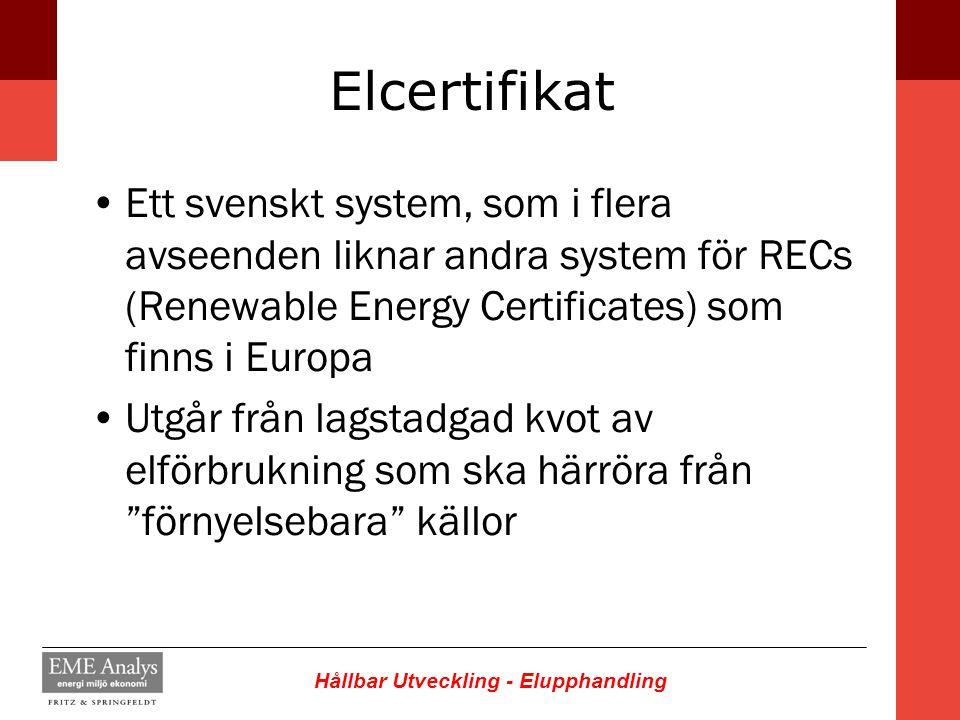 Hållbar Utveckling - Elupphandling Elcertifikat Ett svenskt system, som i flera avseenden liknar andra system för RECs (Renewable Energy Certificates)