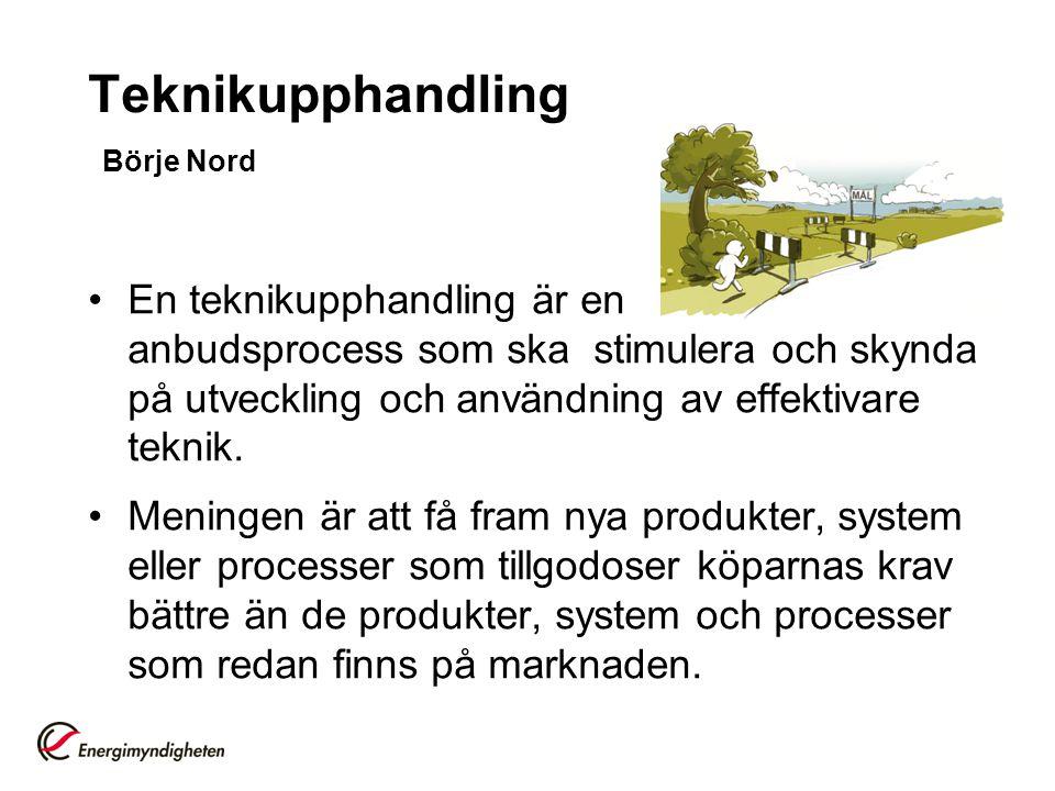 Teknikupphandling Börje Nord En teknikupphandling är en anbudsprocess som ska stimulera och skynda på utveckling och användning av effektivare teknik.