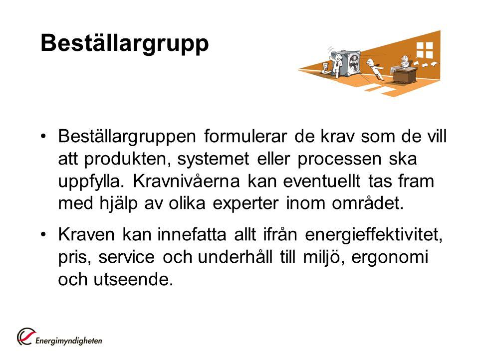 Beställargrupp Beställargruppen formulerar de krav som de vill att produkten, systemet eller processen ska uppfylla.
