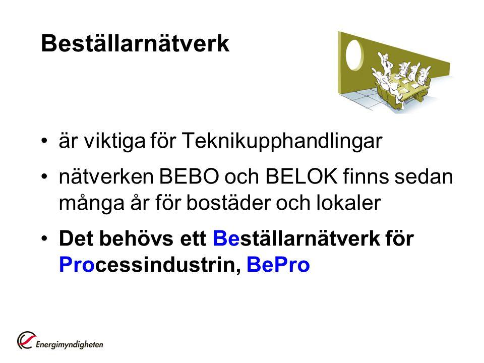 Beställarnätverk är viktiga för Teknikupphandlingar nätverken BEBO och BELOK finns sedan många år för bostäder och lokaler Det behövs ett Beställarnätverk för Processindustrin, BePro