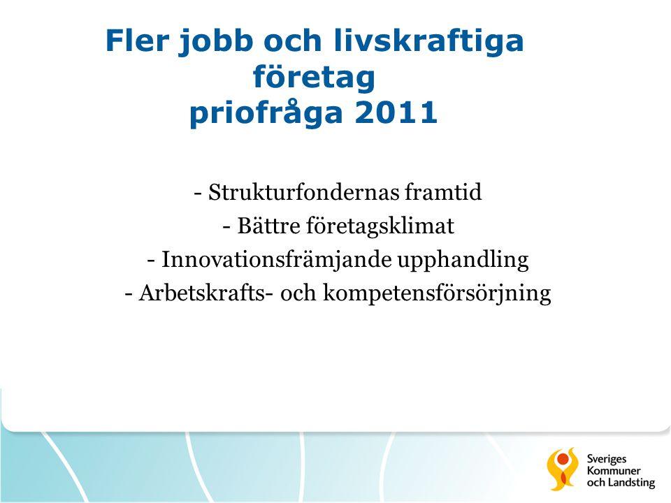 Fler jobb och livskraftiga företag priofråga 2011 - Strukturfondernas framtid - Bättre företagsklimat - Innovationsfrämjande upphandling - Arbetskrafts- och kompetensförsörjning