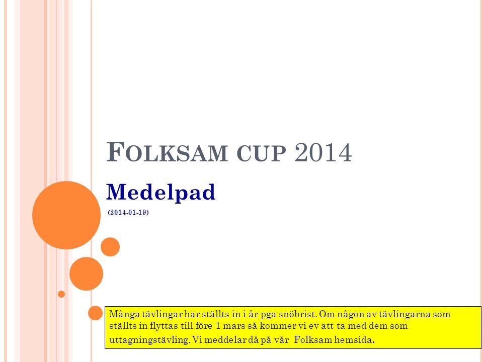 F OLKSAM CUP 2014 Medelpad (2014-01-19) Många tävlingar har ställts in i år pga snöbrist. Om någon av tävlingarna som ställts in flyttas till före 1 m