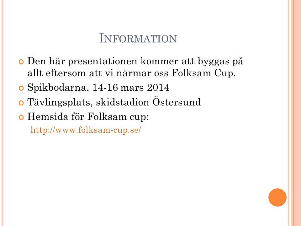 Den här presentationen kommer att byggas på allt eftersom att vi närmar oss Folksam Cup. Spikbodarna, 14-16 mars 2014 Tävlingsplats, skidstadion Öster