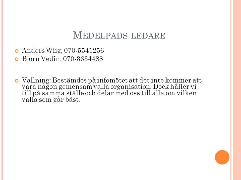 M EDELPADS LEDARE Anders Wiig, 070-5541256 Björn Vedin, 070-3634488 Vallning: Bestämdes på infomötet att det inte kommer att vara någon gemensam valla