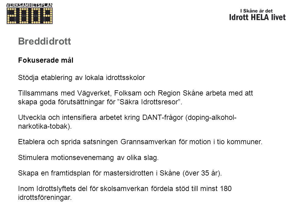 Breddidrott Fokuserade mål Stödja etablering av lokala idrottsskolor Tillsammans med Vägverket, Folksam och Region Skåne arbeta med att skapa goda för