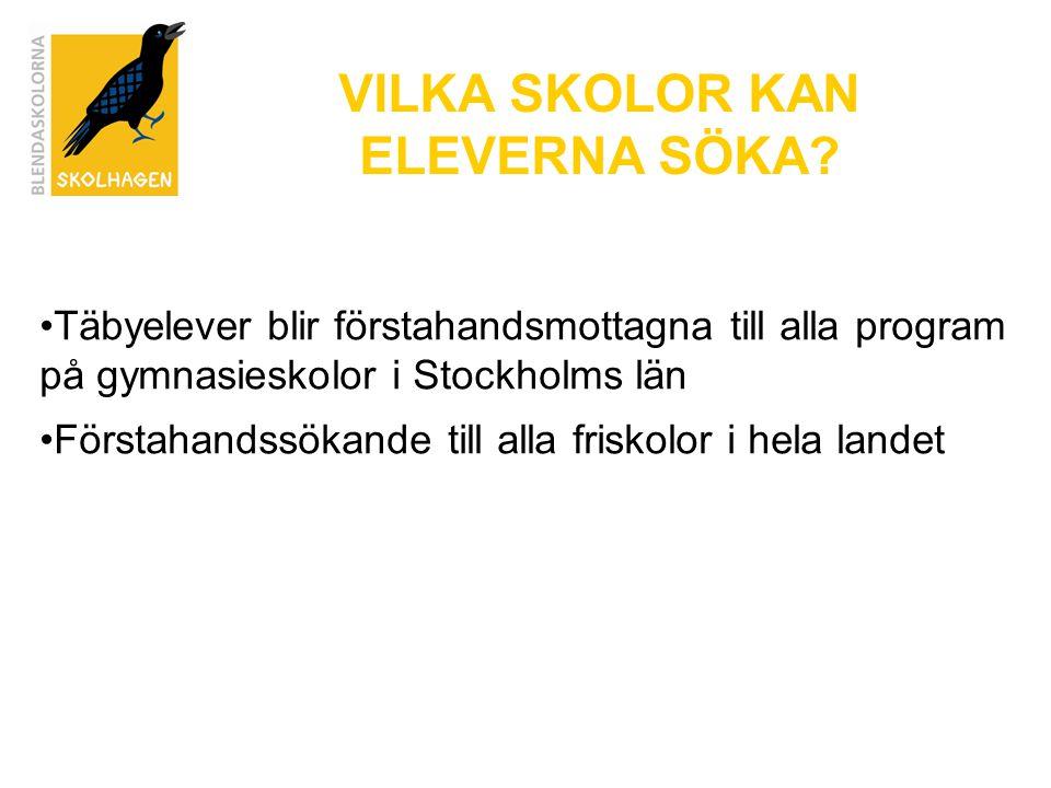 VILKA SKOLOR KAN ELEVERNA SÖKA? Täbyelever blir förstahandsmottagna till alla program på gymnasieskolor i Stockholms län Förstahandssökande till alla