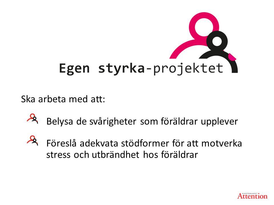 Belysa de svårigheter som föräldrar upplever Föreslå adekvata stödformer för att motverka stress och utbrändhet hos föräldrar Ska arbeta med att: