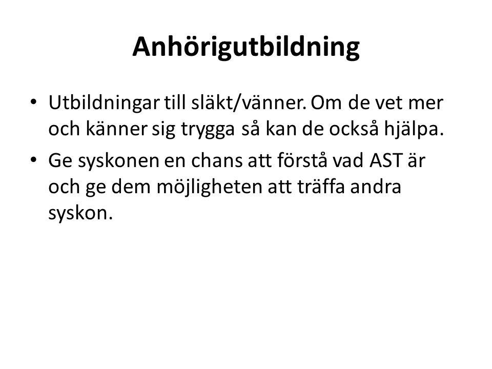 Anhörigutbildning Utbildningar till släkt/vänner.