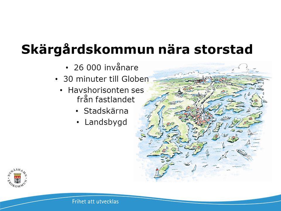 Skärgårdskommun nära storstad 26 000 invånare 30 minuter till Globen Havshorisonten ses från fastlandet Stadskärna Landsbygd