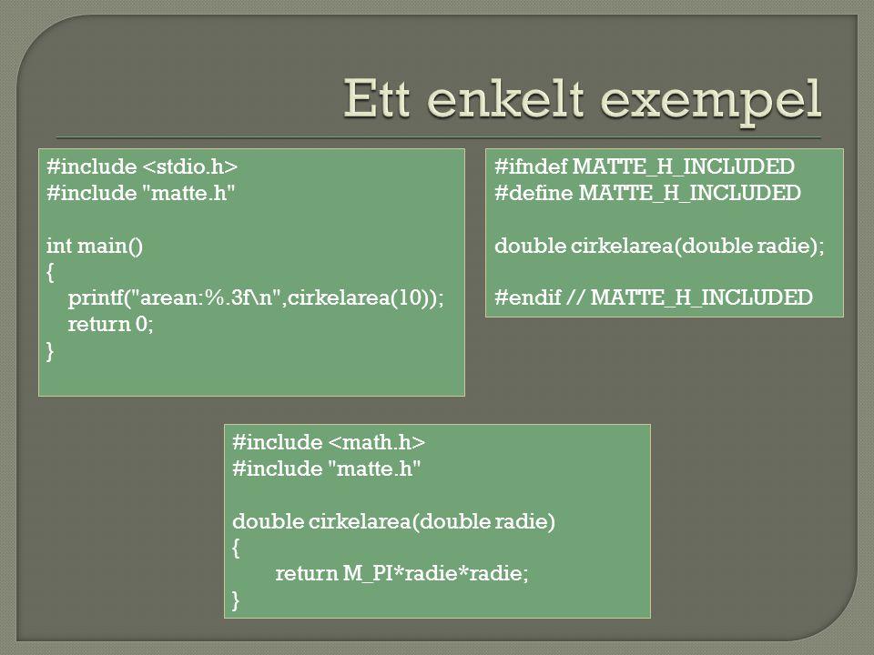  Börja med att starta ett projekt File -> New -> Project… Console application C namn  Kompilera och kör.
