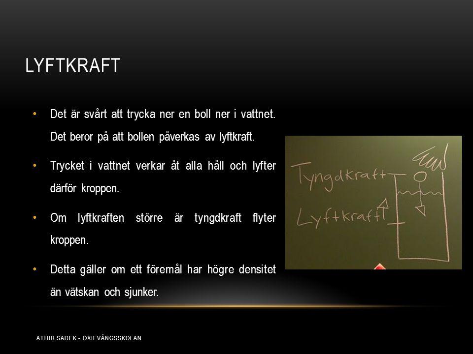 LYFTKRAFT Det är svårt att trycka ner en boll ner i vattnet. Det beror på att bollen påverkas av lyftkraft. Trycket i vattnet verkar åt alla håll och