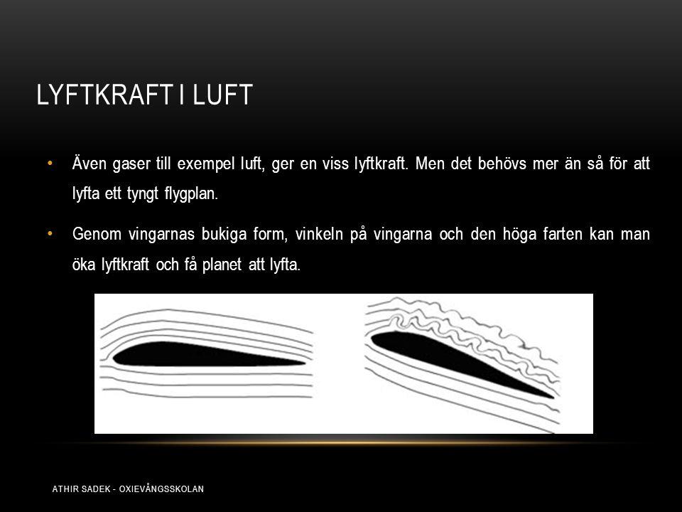LYFTKRAFT I LUFT Även gaser till exempel luft, ger en viss lyftkraft. Men det behövs mer än så för att lyfta ett tyngt flygplan. Genom vingarnas bukig