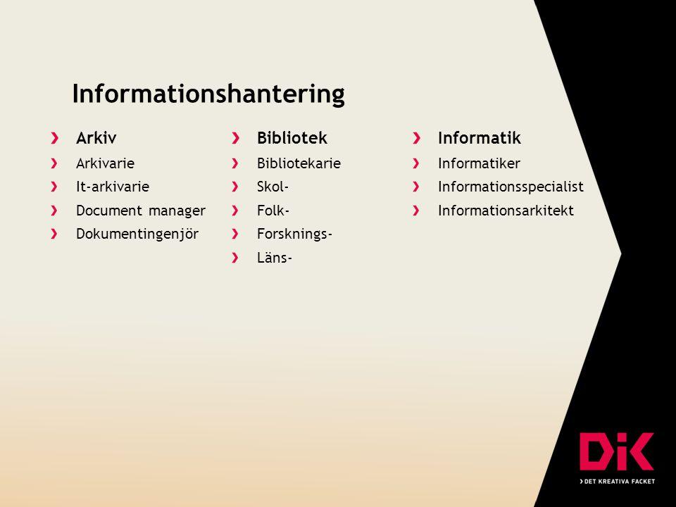 Informationshantering Arkiv Arkivarie It-arkivarie Document manager Dokumentingenjör Bibliotek Bibliotekarie Skol- Folk- Forsknings- Läns- Informatik Informatiker Informationsspecialist Informationsarkitekt