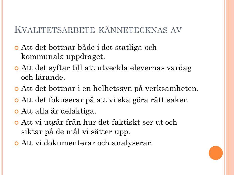 P UBLIK PÅ HEMSIDAN Uppsala kommun har en gemensam ram för att höja kvaliteten.
