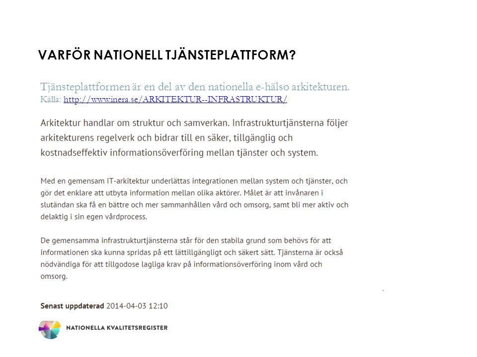 VARFÖR NATIONELL TJÄNSTEPLATTFORM? Tjänsteplattformen är en del av den nationella e-hälso arkitekturen. Källa: http://www.inera.se/ARKITEKTUR--INFRAST