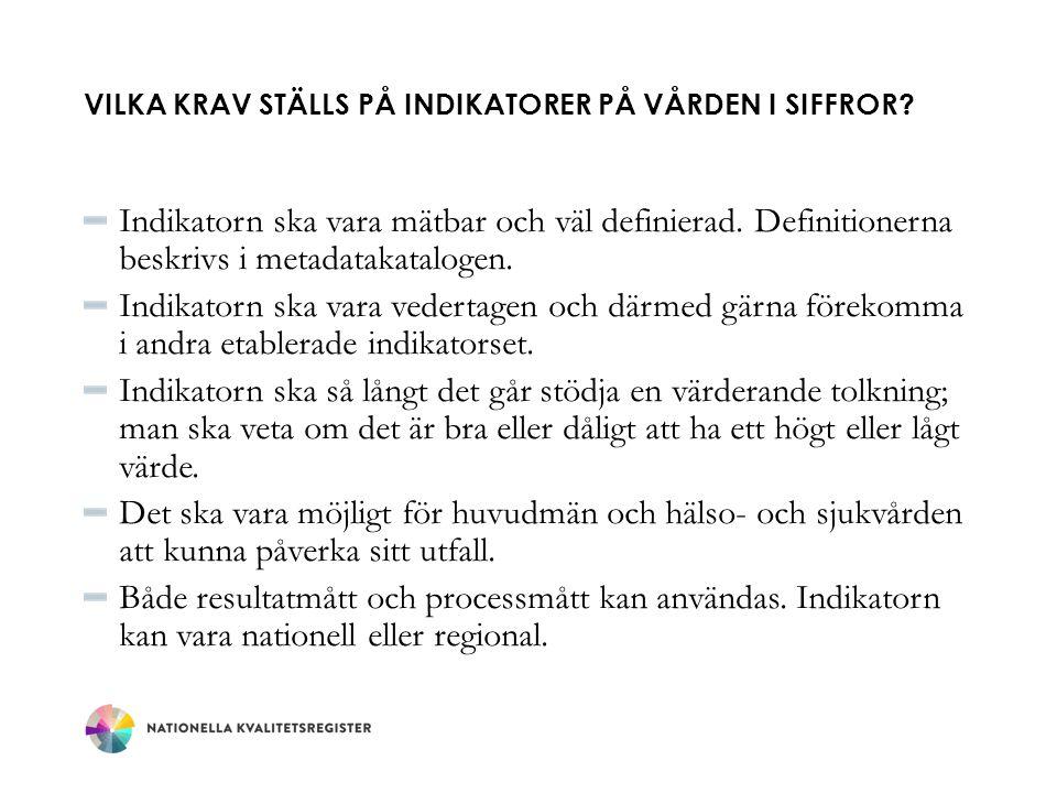 VILKEN KVALITET HAR INDIKATORERNA PÅ VÅRDEN I SIFFROR.