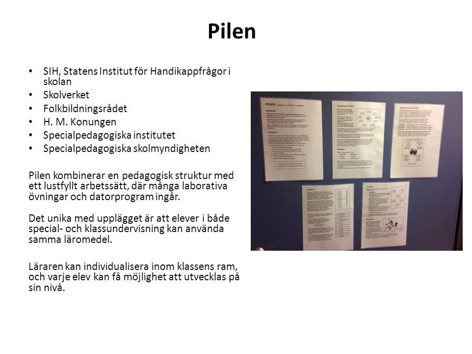Pilen SIH, Statens Institut för Handikappfrågor i skolan Skolverket Folkbildningsrådet H.