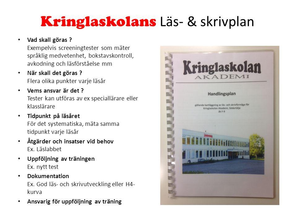Kringlaskolans Läs- & skrivplan Vad skall göras .